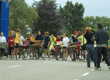Transportfietsenrace start